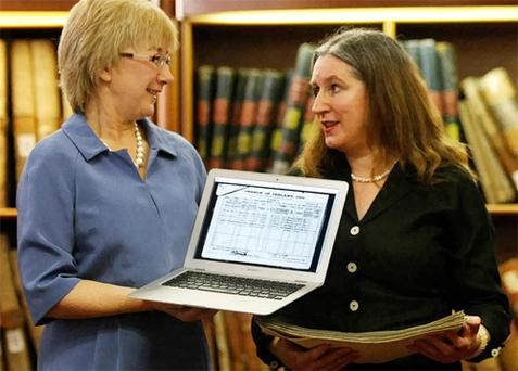 Minister for Tourism, Culture and Sport Mary Hanafin TD, left, and Senior Archivist and Head of Special Projects Catriona Crowe at the National Archive in Dublin. Photo: PA