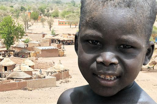 Malnutrition in children is a common problem in villages such as this one in Burkina Faso