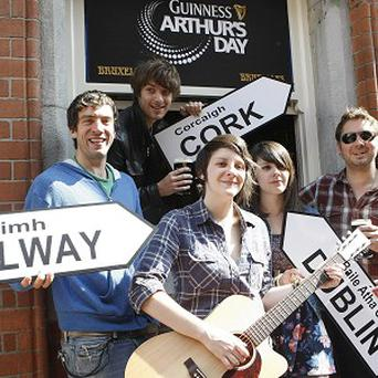 Paolo Nutini, members of Snow Patrol and band Heathers launch Guinness Arthur's Day.