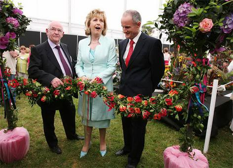 Bord Bia Chairman Dan Brown, President of Ireland Mary McAleese and Martin McAleese are pictured opening Bloom, Ireland's largest gardening, food and family event. Photo: James Horan/Collins