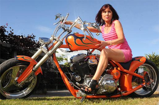 Theresa McCarthy, of Blarney Street, Cork, on board a Harley Davidson Buell yesterday at the Ireland Bike Fest in Killarney which runs until Monday