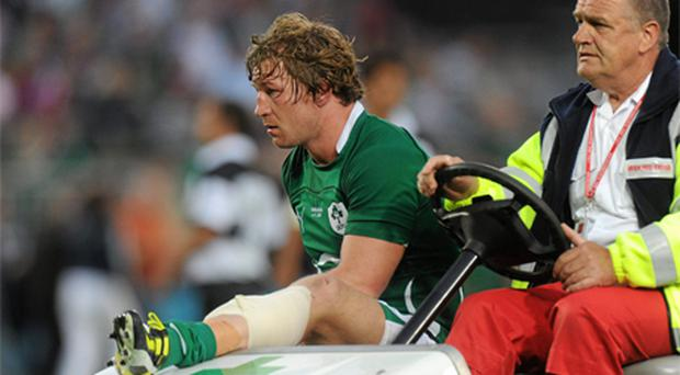 Jerry Flannery is stretchered off the pitch after the game