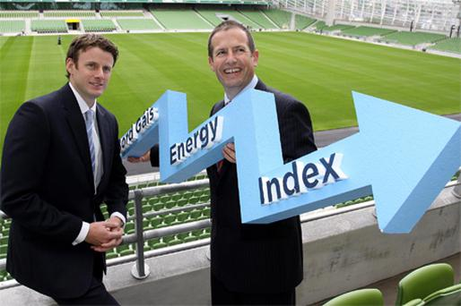 At the Bord Gais launch yesterday of the new energy index were Michael Kelleher, energy trading analyst, and Jason Scagell, energy trading managing director