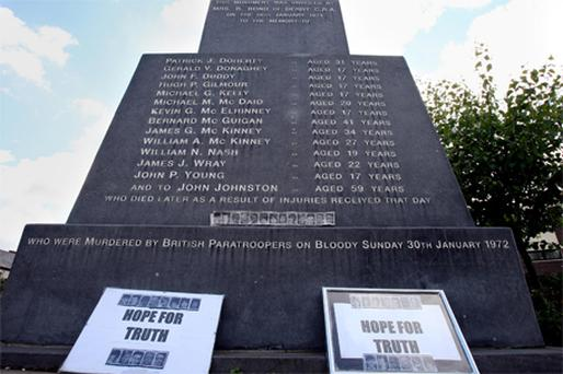 A memorial in the Bogside area of Derry to those killed on Bloody Sunday in 1972, where the victims' families will gather today before marching to the Guildhall in Derry city centre to receive the Saville report into the shootings
