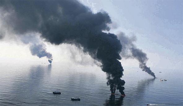 The site of the devastating oil spill in the Gulf of Mexico yesterday, inset, US President Barack Obama visits the region