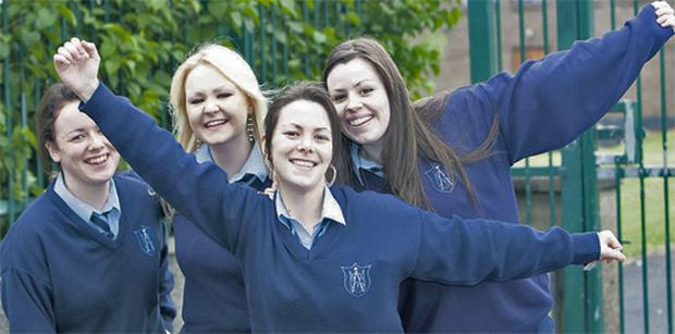 Joanna Walsh, Amanda Bennis, Maegan Wallace and Vivienne Mahon, students at St Mary's Secondary school, Limerick were very happy with yesterday's Leaving Cert maths paper 2