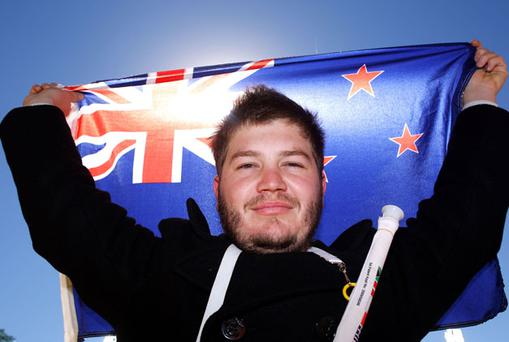 A New Zealand fan before the match. Photo: Getty Images