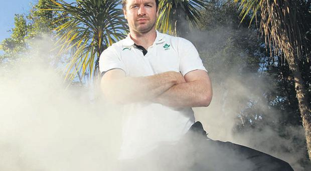 Geordan Murphy, who captains the Irish team against the Maori on Friday, checks out the natural hot springs in Rotorua yesterday. BILLY STICKLAND/INPHO