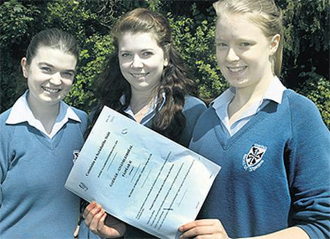 Alissa Karpick, Eimear Sutcliffe and Fiona Lynch, who sat their Leaving Cert Irish at the Dominican College, Griffith Avenue, Dublin