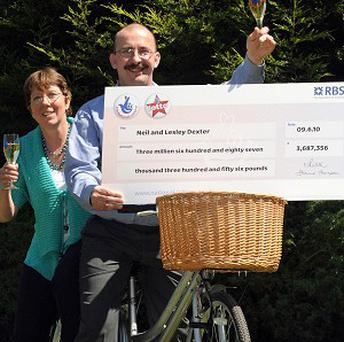 Neil Dexter and his wife Lesley celebrate scooping the Lotto jackpot