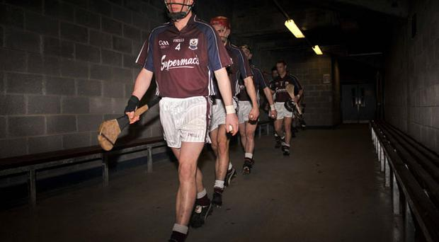 Ollie Canning, here leading Galway out for a game against Tipperary, would love to crown his career with an All-Ireland SHC medal.