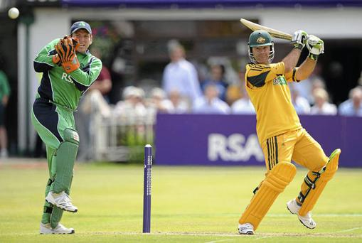 Australia's Ricky Ponting hits a boundary watched by Irish wicketkeeper Gary Wilson at Clontarf. Photo: Brendan Moran / Sportsfile