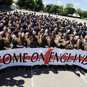 Hundreds of British soldiers from the Yorkshire Regiment send a message of support to the England team