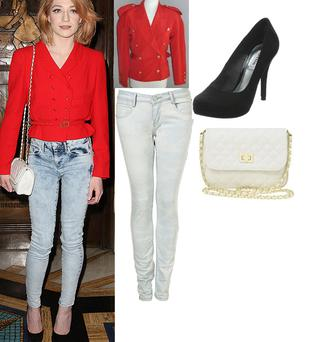 Bleached skinny Baxter jeans €61 Topshop; Red jacket Ebay €12; Shoes €108 Dune. Chain bag €18.25 Asos.com