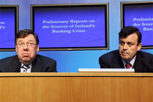 Taoiseach Brian Cowen and Finance Minister Brian Lenihan at a press briefing on the two bank reports which were presented to Government last week