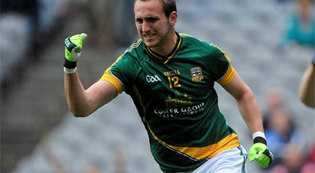 Graham Reilly celebrating Meath's early goal last week which threatened to derail Laois but Sean Dempsey's men kept their composure to earn a replay