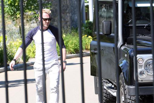 Ronan Keating, leaving his apartment in Malahide yesterday. Photo: Tony Gavin.