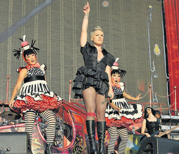 US singer Pink on stage at The RDS Dublin