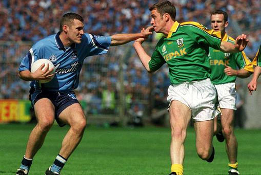 Nigel Crawford in action against Dublin's Ciaran Whelan during the 2001 Leinster final - the last time the Royals enjoyed Championship success over their bitter rivals.