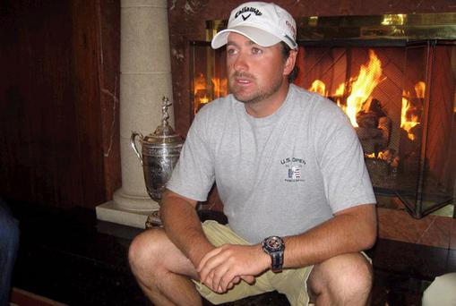 Graeme McDowell in relaxed mood at the Monterey Plaza Hotel following his US Open victory at Pebble Beach on Sunday.