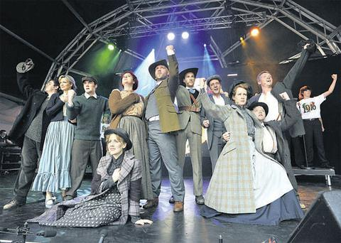 Cast members from '1916: The Musical' performing in London last weekend.