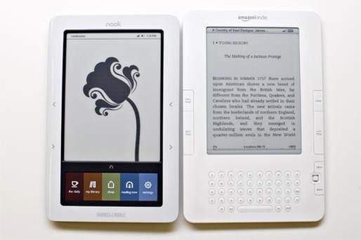 Experts predict the start of an ebook price war. Shown here are the Barnes & Noble Nook and Amazon's Kindle. Photo: Bloomberg News