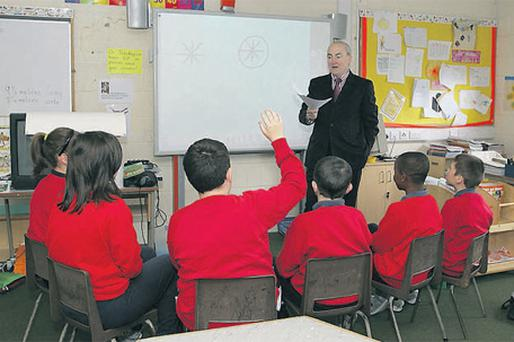 Hands up: Gerry Murphy, principal of St Joseph's National School, Dundalk, says the role has more accountability than before