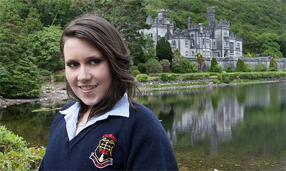 Student Olivia Corbett Joyce at Kylemore Abbey in Connemara yesterday
