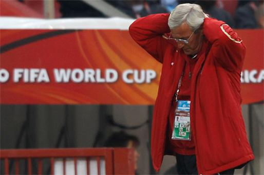 Italy's coach Marcello Lippi reacts during the World Cup Group F match against Slovakia at Ellis Park in Johannesburg yesterday