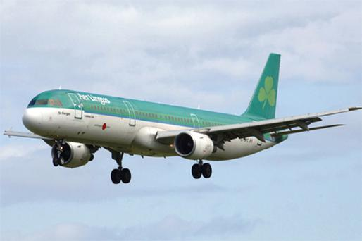 Aer Lingus which rose 2.7pc to 80c after Goodbody Stockbrokers raised its price target to €1.25 from €1.05. Photo: Bloomberg News