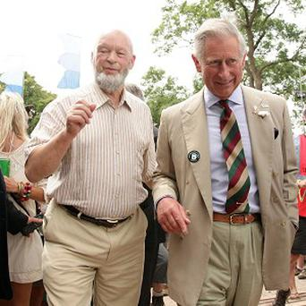 Prince Charles with Michael Eavis as he visits Glastonbury Festival 2010