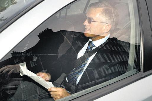 Senator Ivor Callely arriving for the Seanad hearing into his expense accounts yesterday. Photo: Martin Nolan