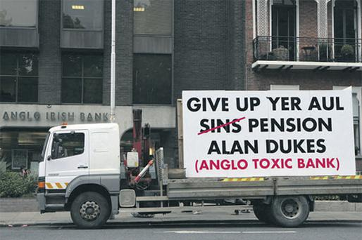 A truck parked in protest outside Anglo Irish Bank headquarters in St Stephen's Green, Dublin, yesterday