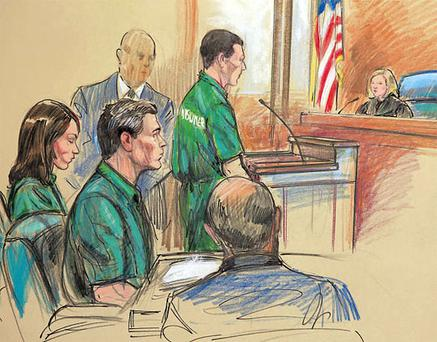 An artist's impression of, from left, Russian spy suspects Patricia Mills, Michael Zottoli, and Mikhail Semenko in court in the US yesterday. AP