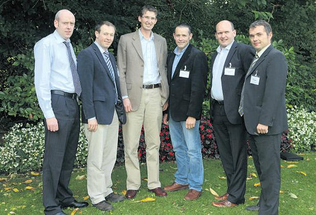 Pictured at the Teagasc National Tillage Crops Forum in Newbridge, Co Kildare, were: (l-r) Barry O'Reilly, DAFF; Mark Plunkett, Teagasc; Michael Hennessy, Teagasc; Philip Doyle, Kildare; Murtagh McWey, Glanbia; Shay Phelan, Teagasc