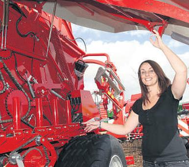 Lely Ireland's Ailish Brennan with a Lely Welger Tornado baler at Cardenton, Athy, for the ploughing spectacular which kicks off today