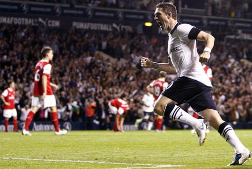 Robbie Keane celebrates scoring for Tottenham Hotspur against Arsenal in the third round Carling Cup match at White Hart Lane last night – Arsenal won the game 4-1 after extra time. Photo: PA