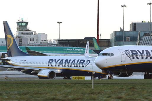 Shares in Aer Lingus advanced 2pc to €1.02 while shares in Ryanair advanced 1.3pc to €3.90 as the International Air Transport Association tripled its forecast for airline industry profits this year on high demand. Photo: Bloomberg News