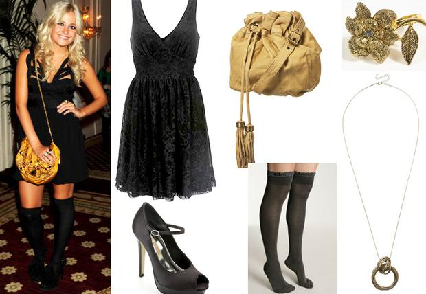 Black dress Warehouse €60; Shoes Buffalo €99; Bag Topshop €68; Tights Urban Outfitters €11; ring Urban Outfitters €19; Necklace Warehouse €16