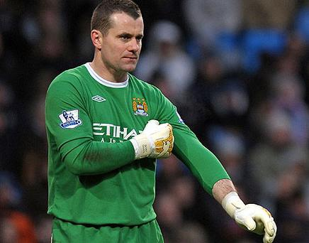 Shay Given started his first game of the season for Manchester City in their Carling Cup clash against WBA last night but ended up on the losing side as Roberto Mancini's men went down 2-1. Photo: Getty Images