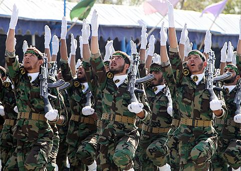 Iran's elite Revolutionary Guards march during an annual military parade which marks Iran's eight-year war with Iraq, in the capital Tehran. Photo: Getty Images