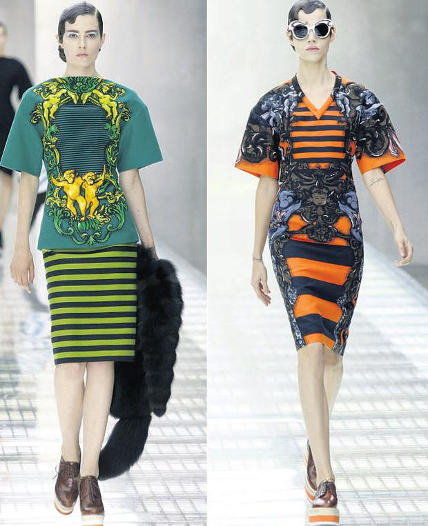 The brightly coloured and boldly patterned Prada Spring and Summer 2011 women's collection was unveiled yesterday during Milan Fashion Week. ALESSANDRO GAROFALO/ REUTERS