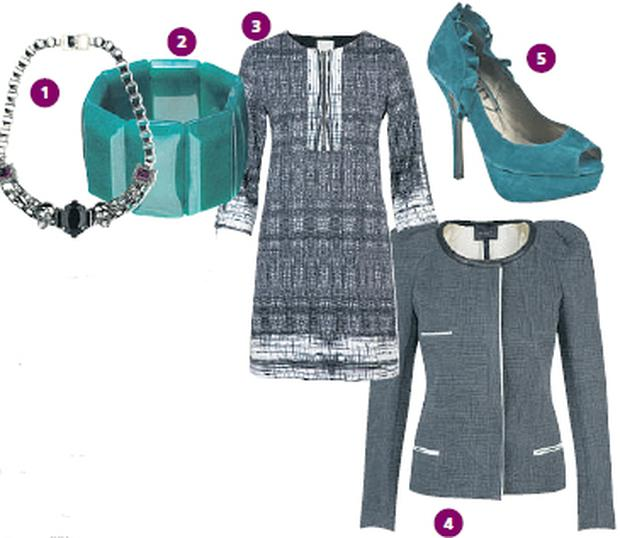 1 Silver 'Skull' necklace €467.86, by Mawi, from House of Fraser; 2 Turquoise stone bracelet, €84 Lola Rose, House of Fraser; 3 Black & white zip front tunic dress, €379 by Nicole Miller, Diffusion, Clontarf, Dublin 3; 4 Anthracite grey 'Herve' jacket, €615 by Isabel Marant from Costume, Castlemarket, Dublin 2; 5 'Schuh' Panther Frill Peeptoe, €85, from Schuh.