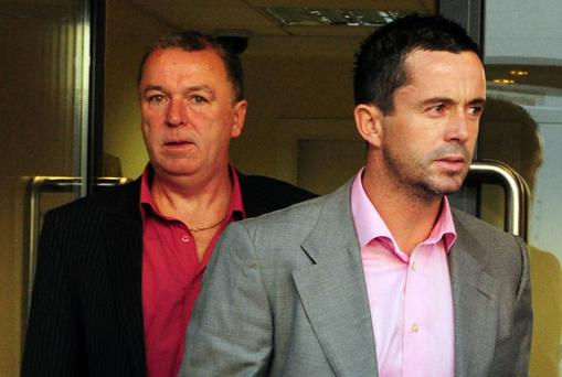 Gary Kelly (right) at Drogheda Court yesterday with his brother Jim, who was also charged in relation to the same incident.