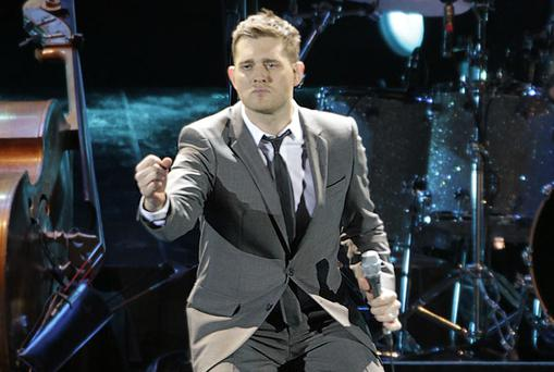 Michael Buble on stage at the Aviva Stadium last night. Photo: Paddy Cummins
