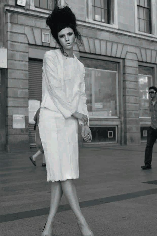 Jacket, made to order, €650; skirt, made to order, €650; knitted wire headpiece, made to order, €200. Shoes, stylist's own