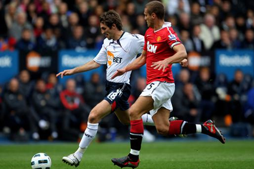 Nemanja Vidic during Sunday's match against Bolton Wanderers. Photo: Getty Images