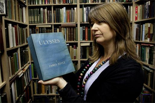 Aisling Cunningham with a first edition of James Joyce's 'Ulysses'