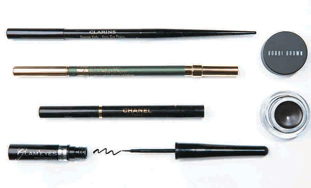Pictured, from top left: Clarins Kohl Eye Pencil; Estee Lauder Double Wear Stay-in-Place Eye Pencil; Chanel Automatic Liquid Eyeliner; Rimmel Glam'Eyes Professional Liquid Liner; top right: Bobbi Brown Long-Wear Gel Eyeliner