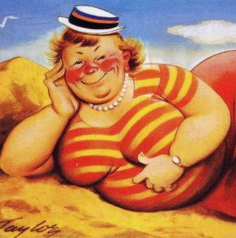 One of a series of world-famous saucy seaside postcards images, by the firm Bamforth and Co